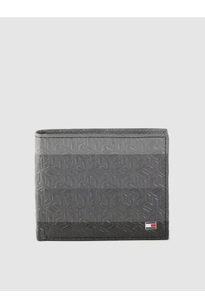 Tommy Hilfiger Men Grey & Black Brand Logo Textured Leather Two Fold Wallet with RFID