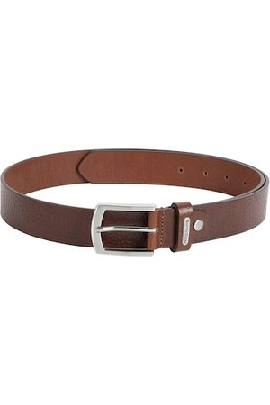 Red Tape Men Brown Leather Textured Belt