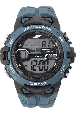 Sonata Men Teal Blue Textured Straps Economy Series Digital Watch 77076PP05