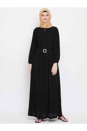 MOMIN LIBAS Women Black Solid Abaya with Belt