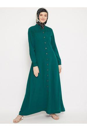 MOMIN LIBAS Women Green Solid Front Open Abaya