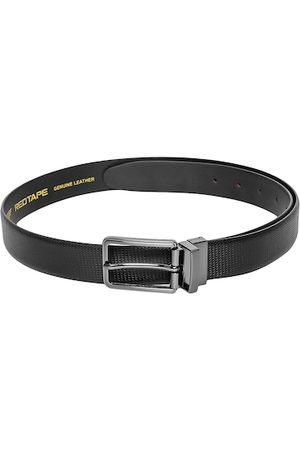 Red Tape Men Black & Silver-Toned Leather Textured Belt
