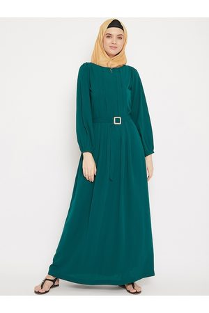 MOMIN LIBAS Women Teal Green Solid Abaya Burqa With Belt