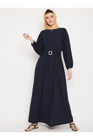 MOMIN LIBAS Women Navy Blue Solid Abaya with Belt