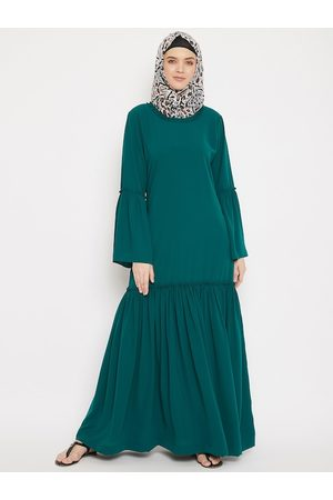 MOMIN LIBAS Women Green Solid Abaya Burqa with Gathered Detail