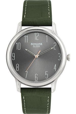 Sonata Men Grey Leather Analogue Watch NN7128SL04