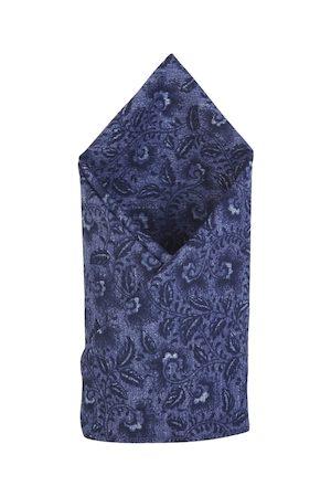Bruun & Stengade Men Navy Blue Printed Cotton Pocket Square