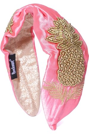 Anekaant Women Pink & Gold-Toned Tropical Pattern Beaded & Embroidered Satin Hairband