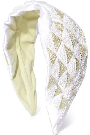 Anekaant Women White & Gold-Toned Harlequin Beaded & Embroidered Satin Hairband