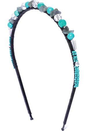 Anekaant Women Turquoise Blue & Black Beaded Hairband