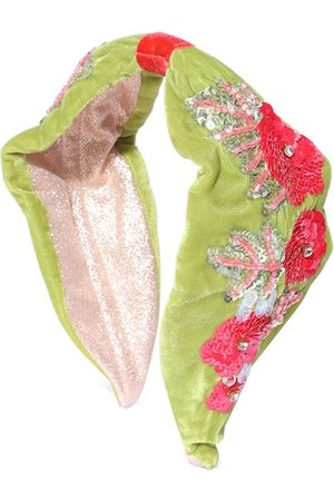 Anekaant Women Hair Accessories - Women Green & Red Floral Embellished Velvet Hairband