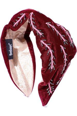 Anekaant Women Burgundy & Pink Beaded Velvet Hairband