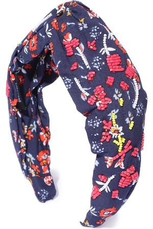 Anekaant Women Navy Blue & Pink Floral Print Beaded Hairband