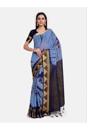 Mimosa Blue & Gold-Toned Tie and Dye Banarasi Saree