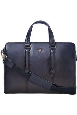 Eske Men Navy Blue Textured 15 Inch Leather Laptop Bag