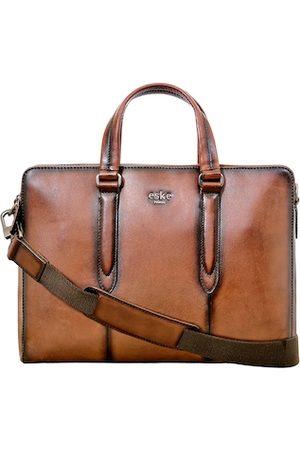 Eske Men Tan Leather Laptop Bag