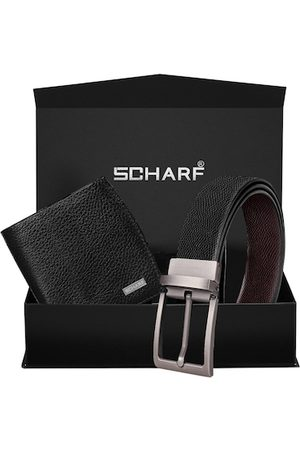 Scharf Men Black Textured Accessory Gift Set