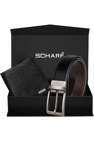 Scharf Men Black & Brown Textured Wallet & Belt Accessory Gift Set