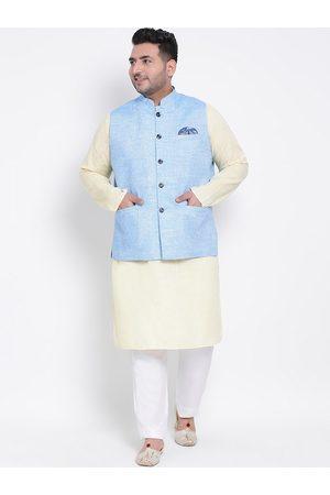 hangup plus Men Multi Embroidered High Slit Linen Kurti with Salwar & NA