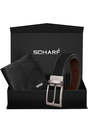 Scharf Men Black Solid Leather Accessory Gift Set