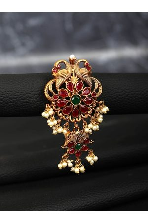 Priyaasi Women Gold & Red Ruby Beads Hair Accessory Set of