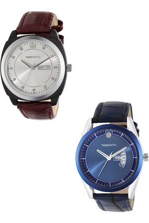 TIMESMITH Men Silver-Toned & Blue Analogue Watch TSC-003-005