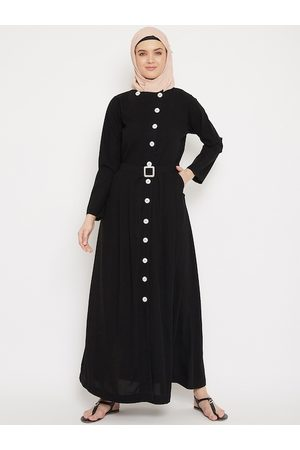 MOMIN LIBAS Women Black Solid Front Open Abaya with Belt