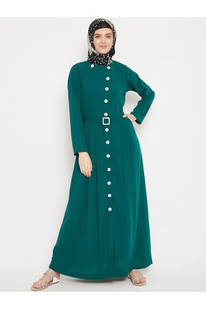 MOMIN LIBAS Women Green Solid Front Open Abaya with Belt