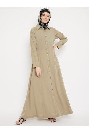 MOMIN LIBAS Women Beige Solid Abaya Burqa