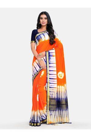 Mimosa Orange & White Tie and Dye Zari Half and Half Mysore Silk Saree