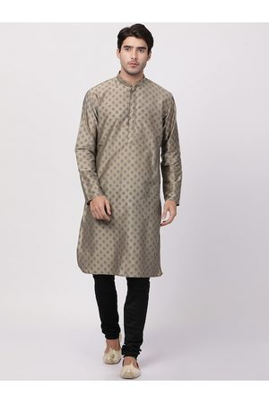 Vastramay Men Beige Ethnic Motifs Kurta with Pyjamas