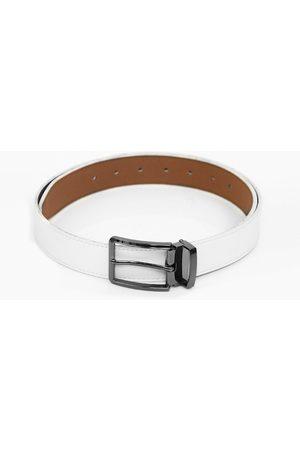 Calvadoss Men White Textured PU Belt