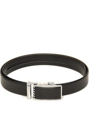 Calvadoss Men Black Textured PU Belt