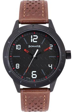 Sonata Men Black Analogue Watch NN7137AL02