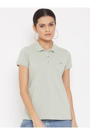 Okane Women Green Polo Collar T-shirt