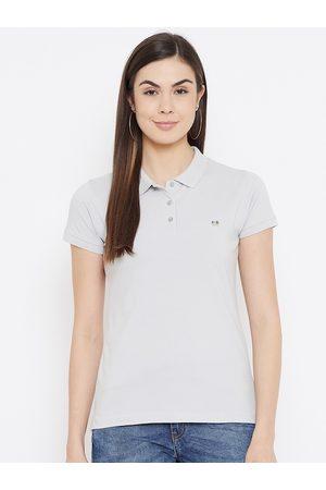 Okane Women Grey Polo Collar Applique T-shirt