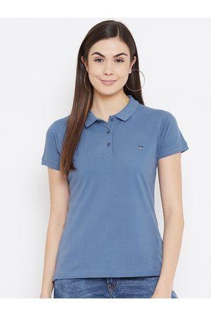 Okane Women Blue Polo Collar T-shirt