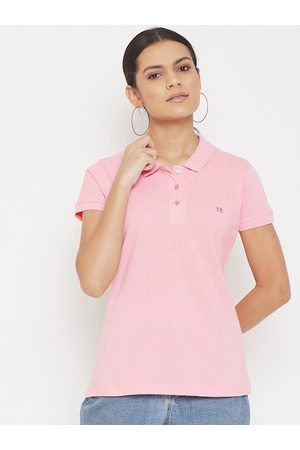 Okane Women Pink Polo Collar T-shirt