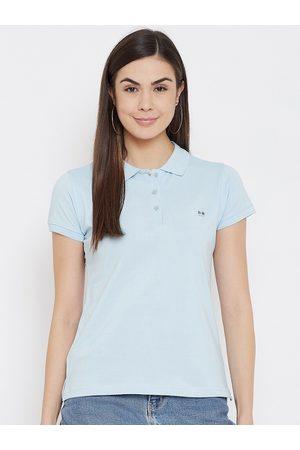 Okane Women Blue Polo Collar Applique T-shirt