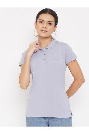 Okane Women Purple Polo Collar T-shirt