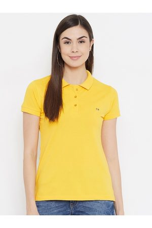 Okane Women Yellow Polo Collar Applique T-shirt