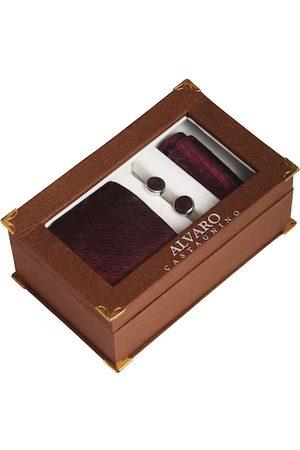 Alvaro Castagnino Men Maroon Self-Design Accessory Gift Set