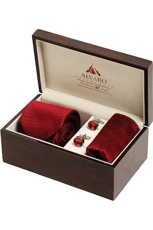 Alvaro Castagnino Men Red Self-Design Accessory Gift Set