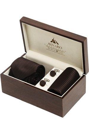 Alvaro Castagnino Men Brown & Silver-Toned Accessory Gift Set