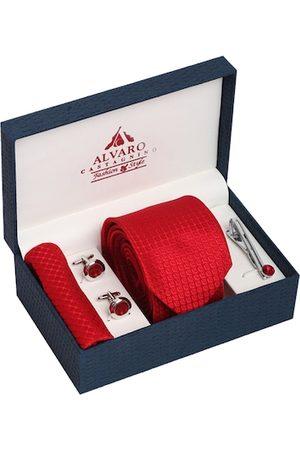 Alvaro Castagnino Men Red & Silver-Toned Accessory Gift Set