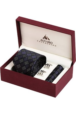 Alvaro Castagnino Men Blue & White Accessory Gift Set