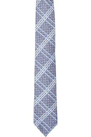 Alvaro Castagnino Men Blue & Beige Checked Broad Tie