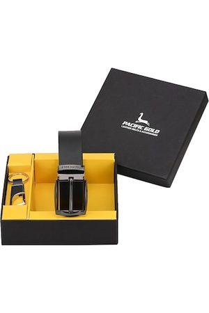 Pacific Men Black Genuine Leather Accessories Gift Set