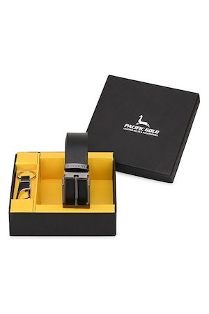 Pacific Men Black & Silver-Toned Leather Accessory Gift Set