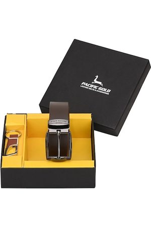 Pacific Men Brown & Silver-Toned Genuine Leather Accessory Gift Set